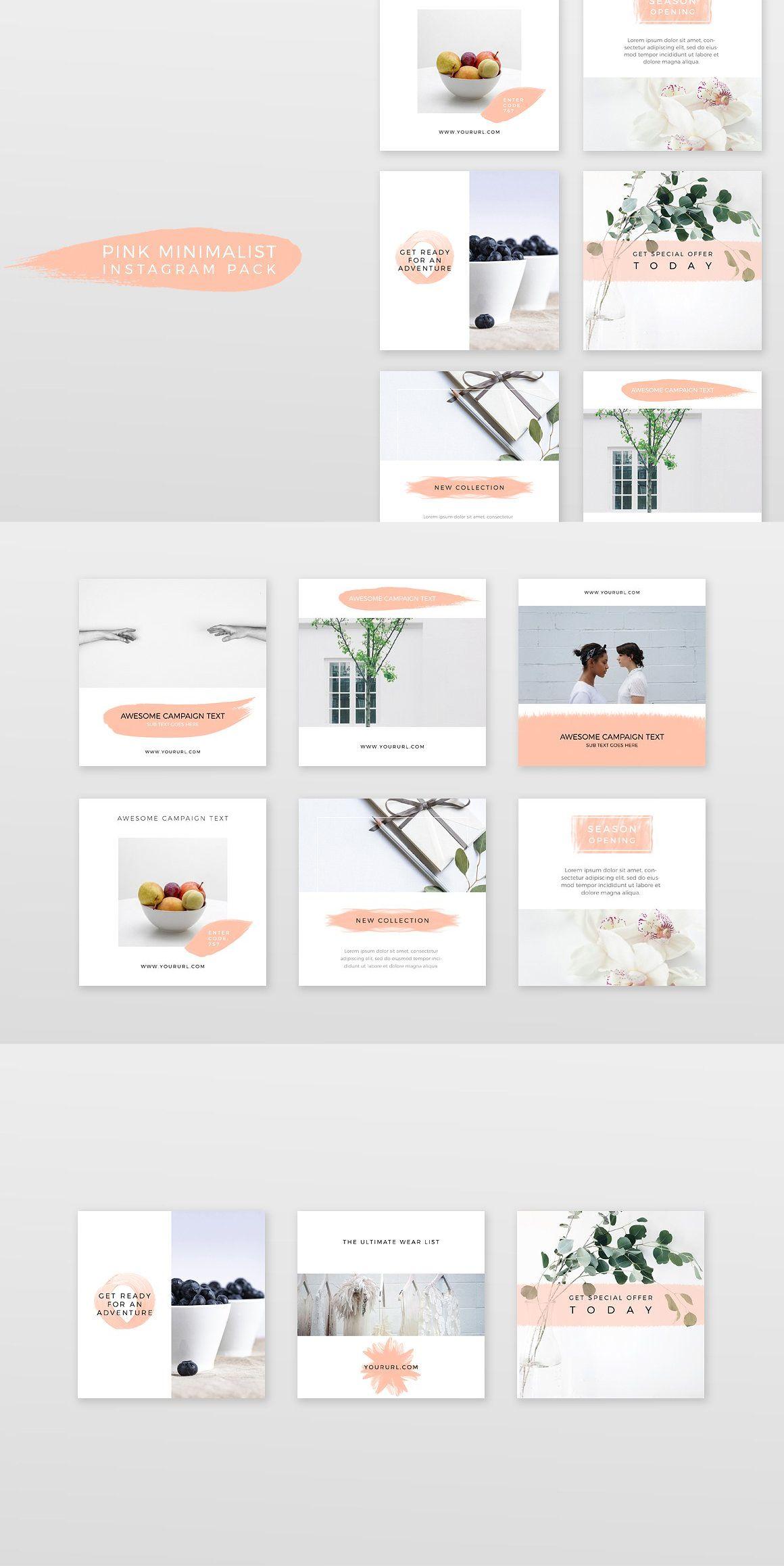 Pink Minimalist Instagram Pack Planirovshik Bloga Veb Dizajn