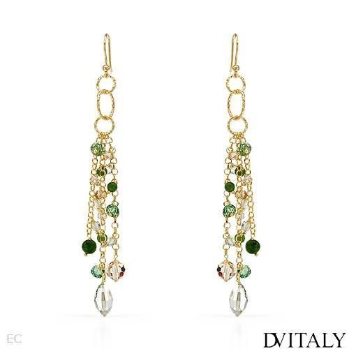 DV ITALY Gold Plated Silver Crystal and Simulated Gems Ladies ...
