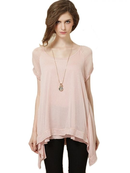 b68f74fe02582 Elegant Beading Hem Woman Solide Asymmetry Chiffon Medium Blouse ...