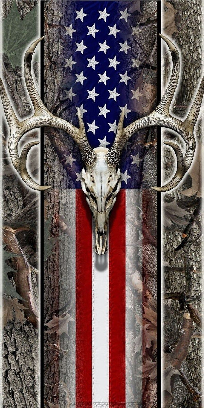 American flag wood deer skull oak camo hunter cornhole