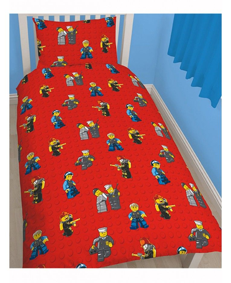 This Lego City Heroes Single Rotary Duvet Cover Set features Lego ...