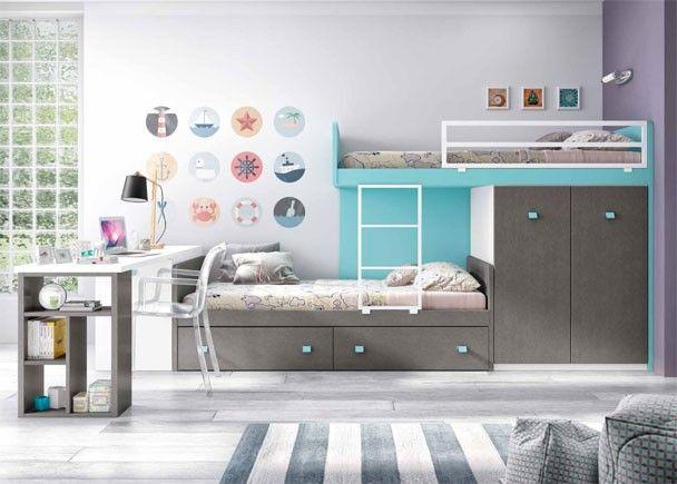 Dormitorio infantil camas tipo tren habitaciones for Dormitorios tipo tren