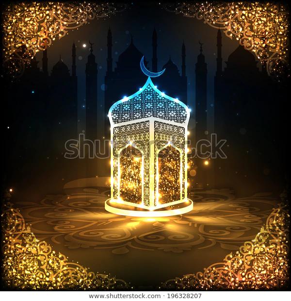 View Shiny Mosque Night Background On Stock Vector Royalty Free 196328207 In 2020 Night Background Islamic Wallpaper Ramadan Kareem