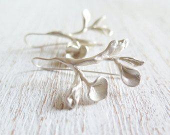Branch earrings. Sterling silver earrings, Branch dangles, organic earrings, nature, tree, Ofelia, wedding earrings, white branch earrings.