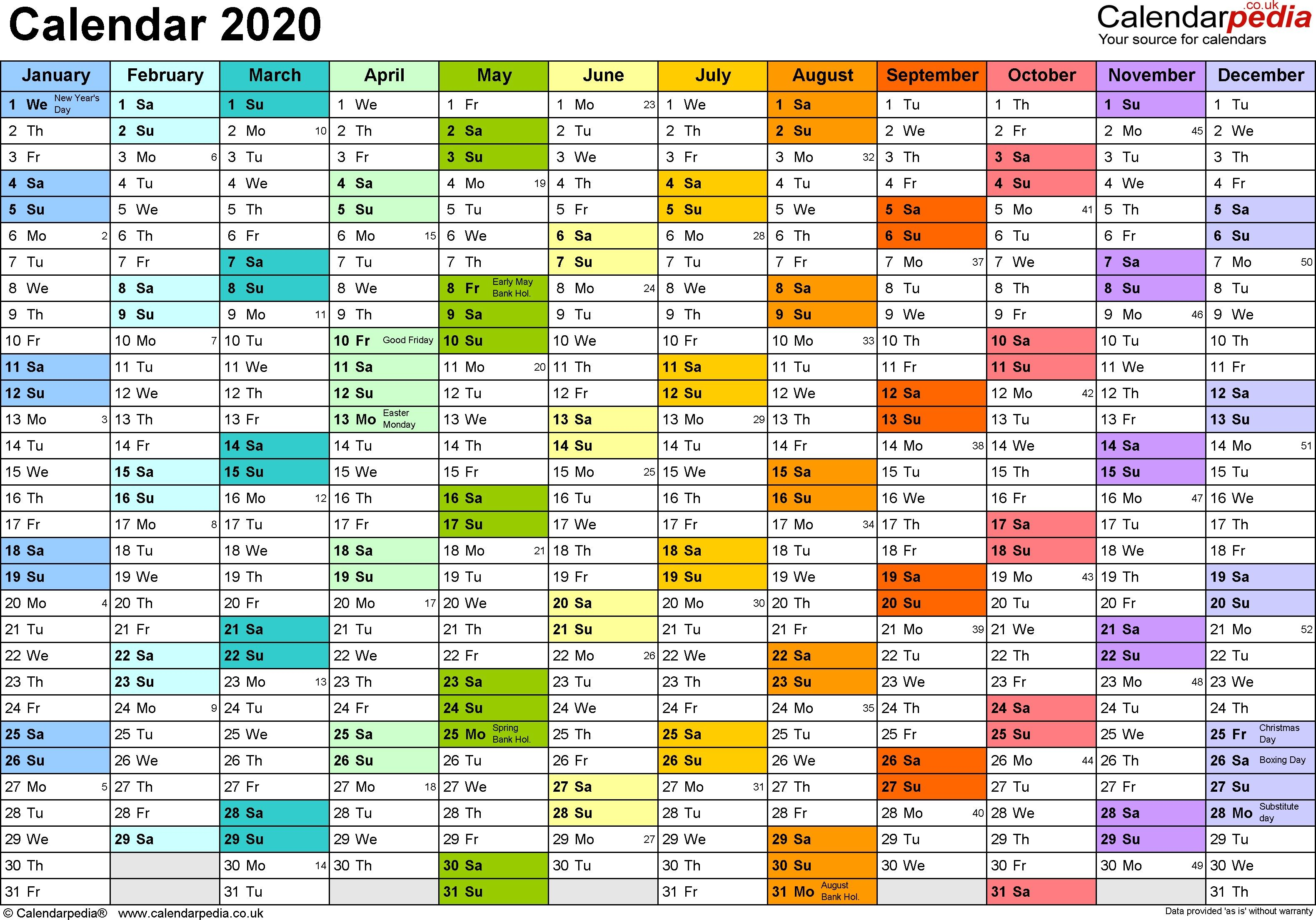 Planner Calendar 2020 Printable Excel Calendar Template Free