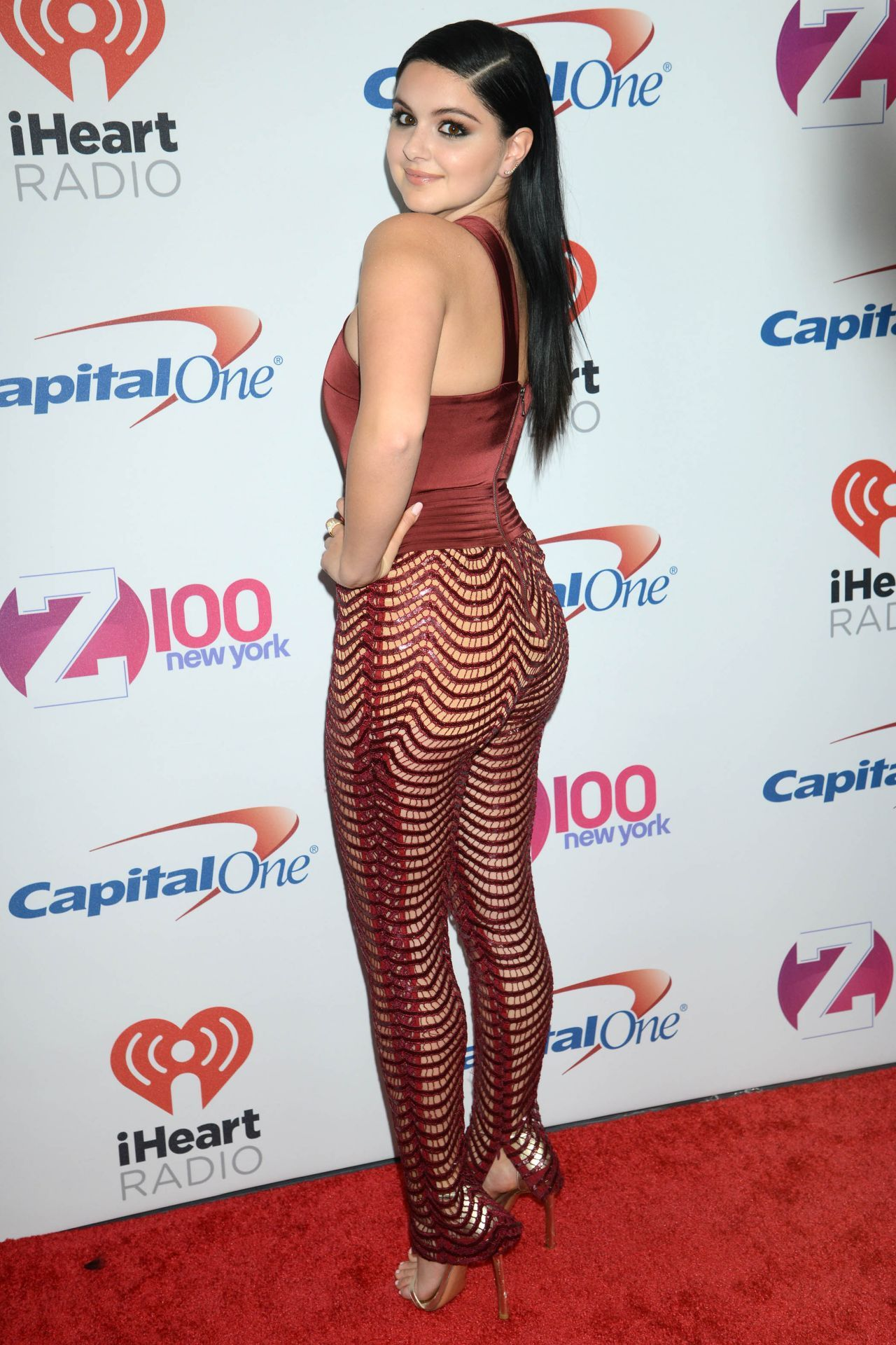 ariel winter in a transparent red dress without underwear
