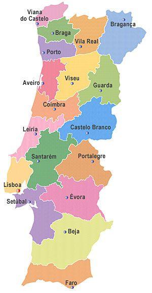 Mapa De Portugal Con Sus Distritos Viajes Portugal Portugal