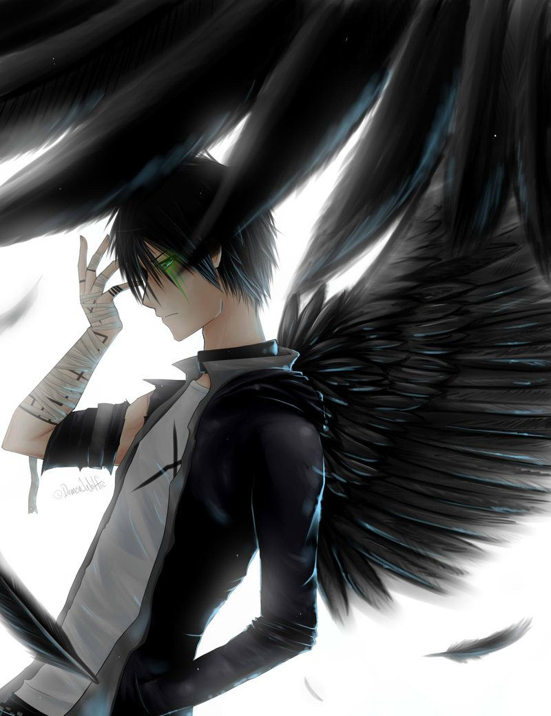 Anime art guy boy man black wings angel injured hothothot | Art ...