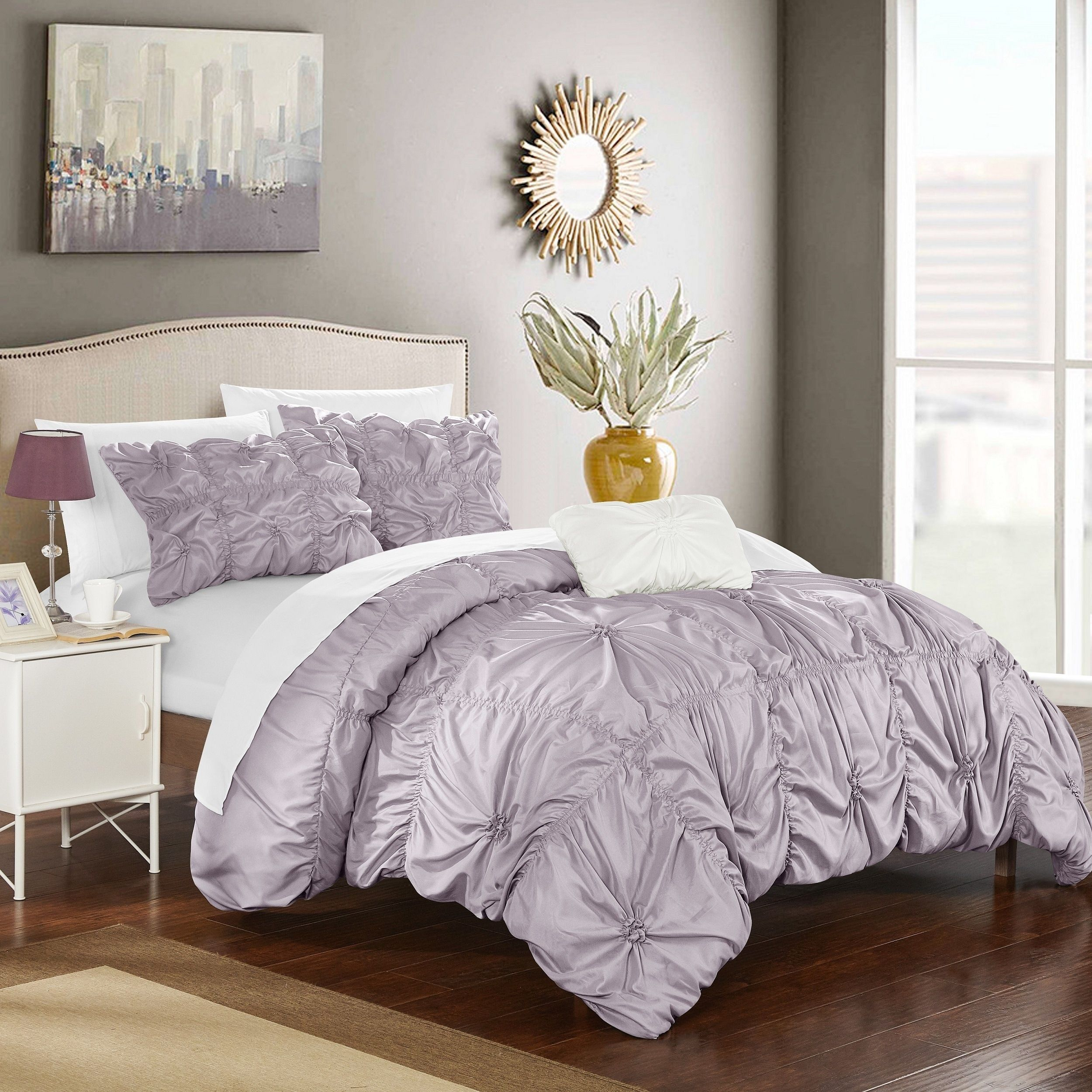 Chic Home 8 Piece Benedict Lavender Bed In A Bag Duvet