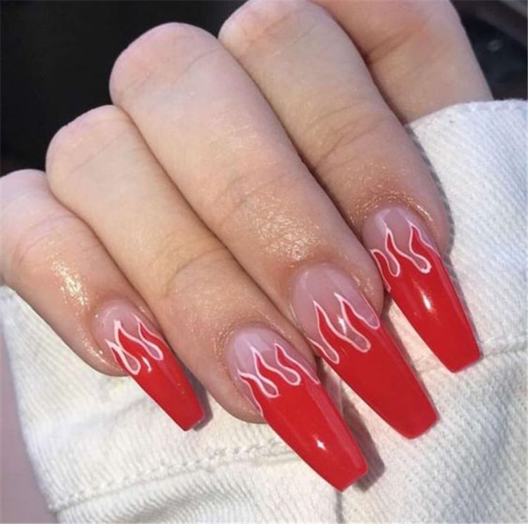 45 Hottest Red Long Acrylic Coffin Nails Designs You Need To Know Cute Hostess For Modern Women Sparkly Acrylic Nails Coffin Nails Long Sparkly Nails