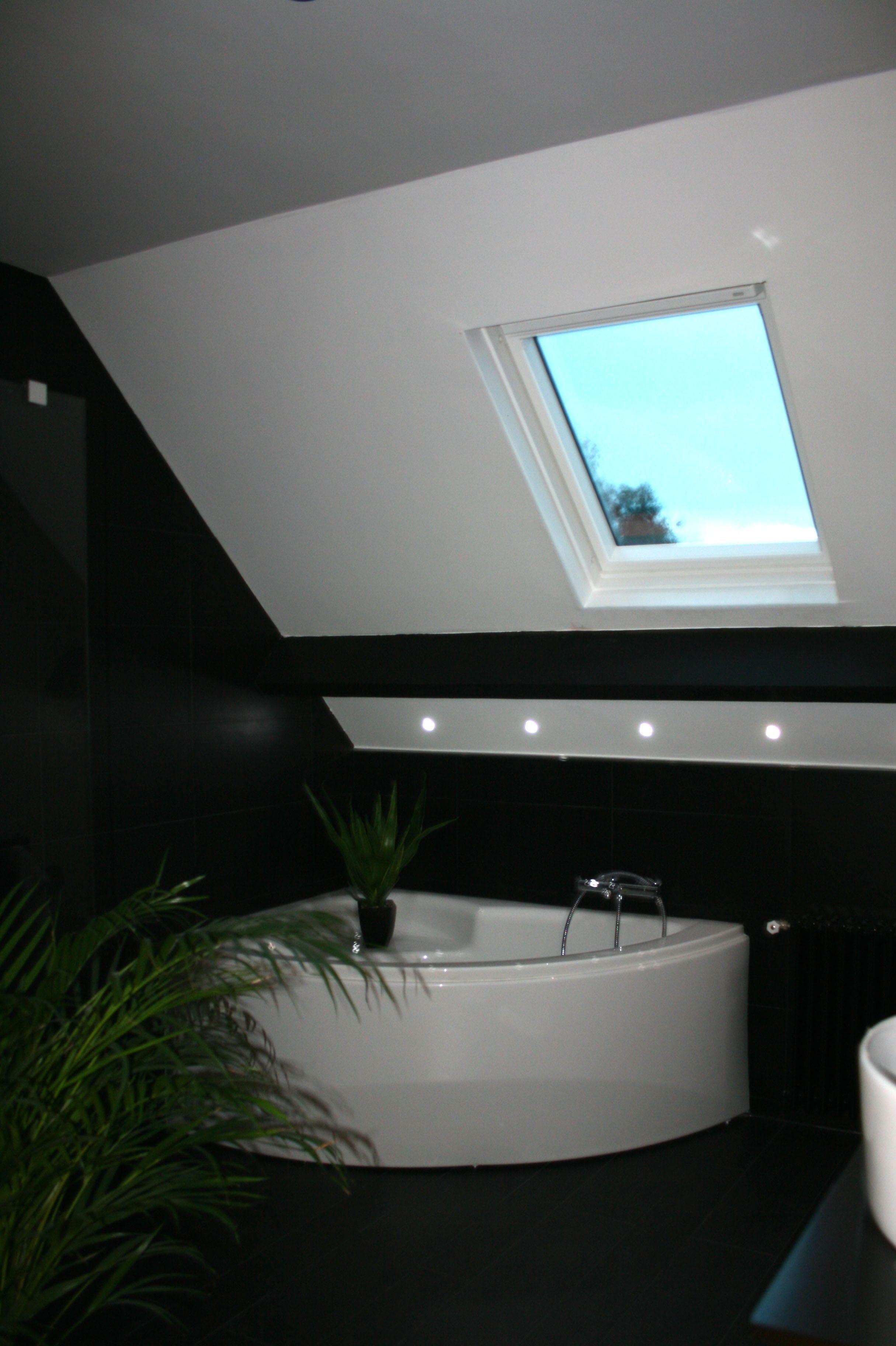 Rénovation salle de bain - Noire et blanche, douche italienne ...