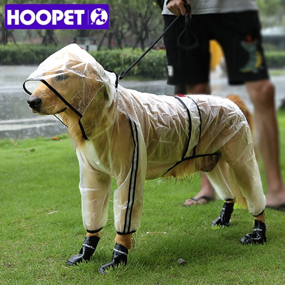 Hoopet Pet Raincoat Puppy Four Feet Hooded Transparent Waterproof Teddy Large Dog Rain Out Clothes For Animals Large Dogs Puppies Pets