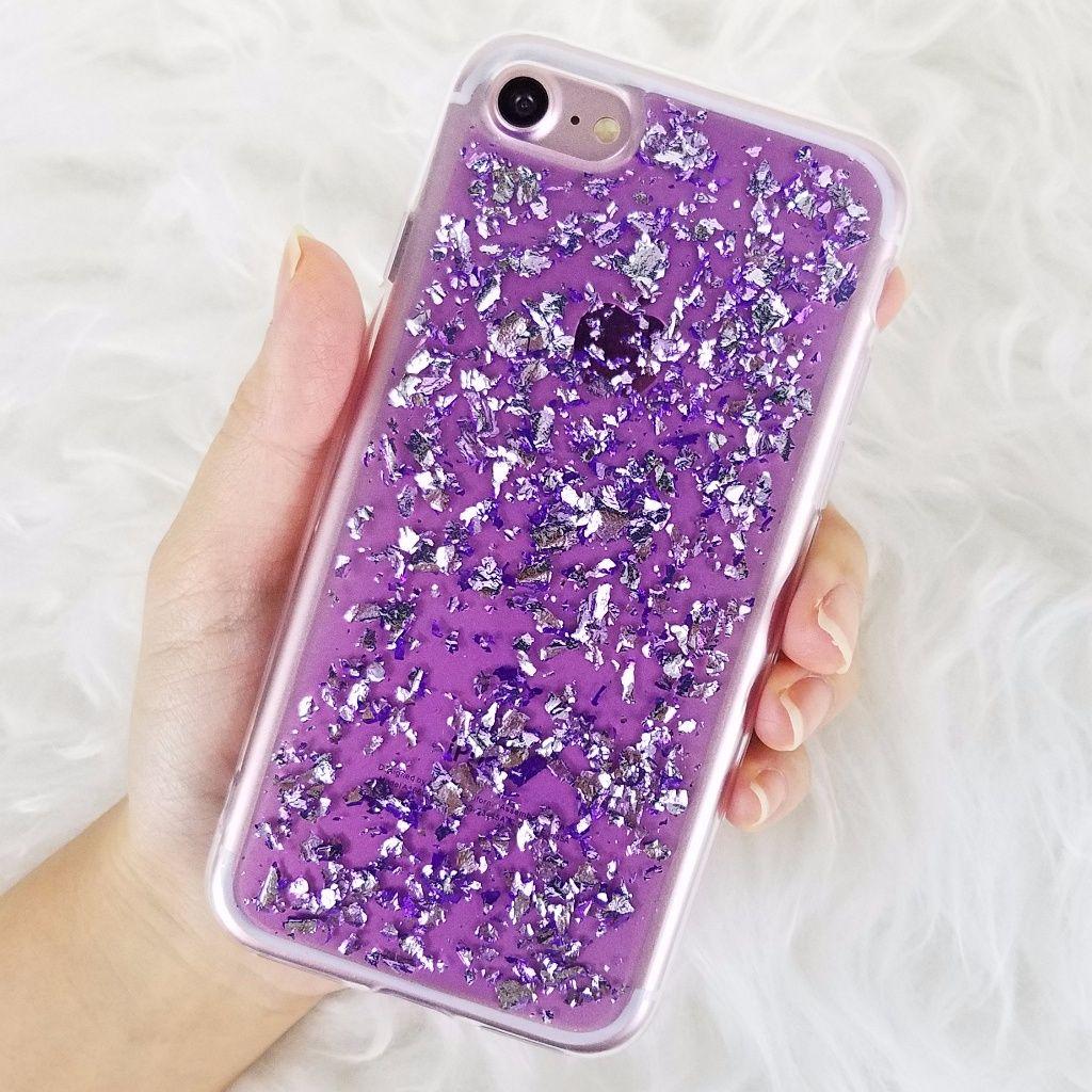 Iphone purple glitter foil case in 2020 iphone cases