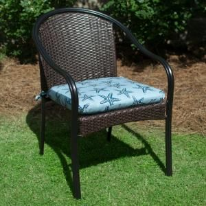 Plantation Patterns Hampton Bay Reef Ocean Outdoor Chair Cushion Available At The Home Depot