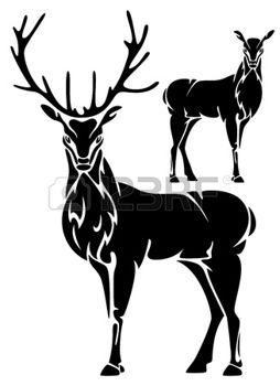 chevreuil debout cerfs illustration en noir et blanc logos chasse tonton pinterest. Black Bedroom Furniture Sets. Home Design Ideas
