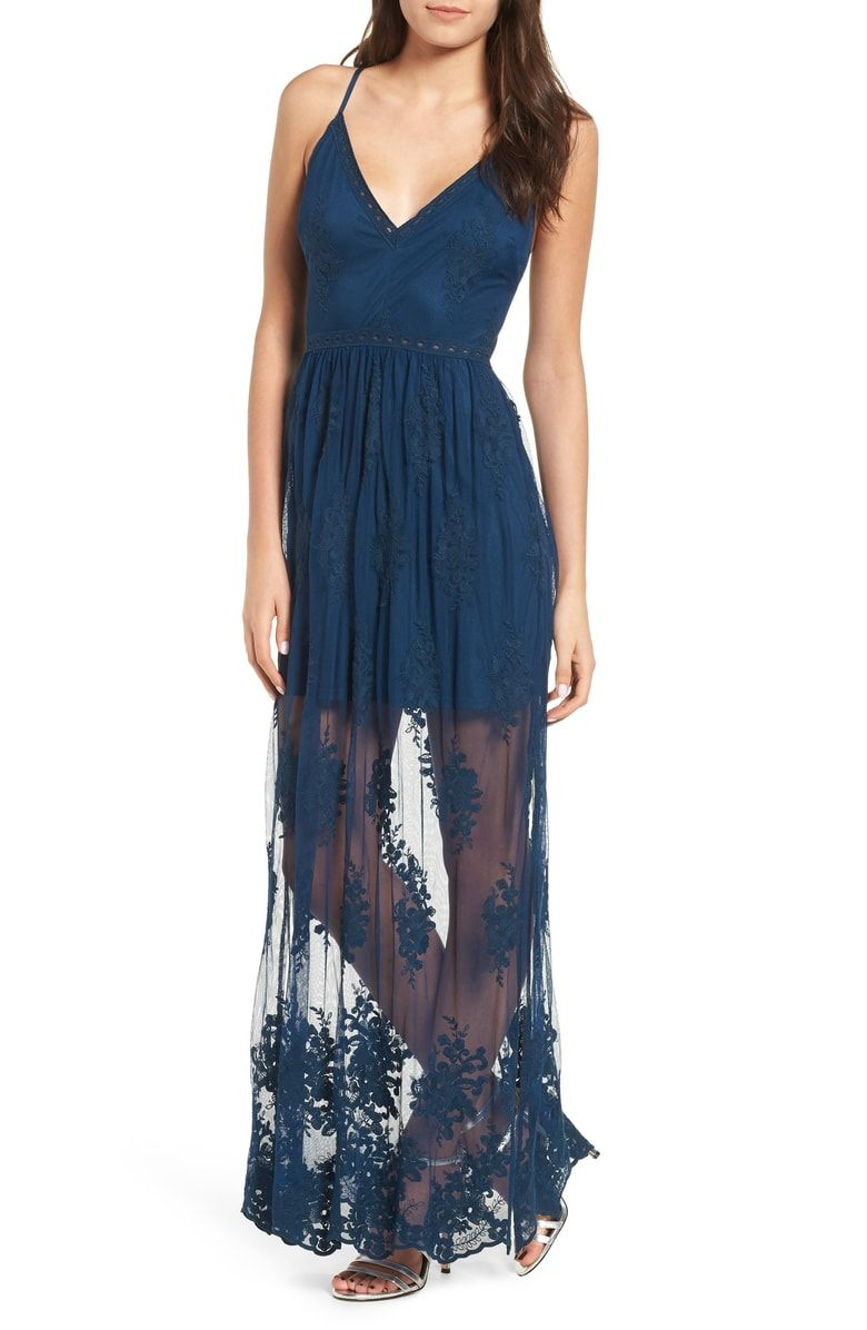 Free shipping and returns on socialite embroidered maxi dress at
