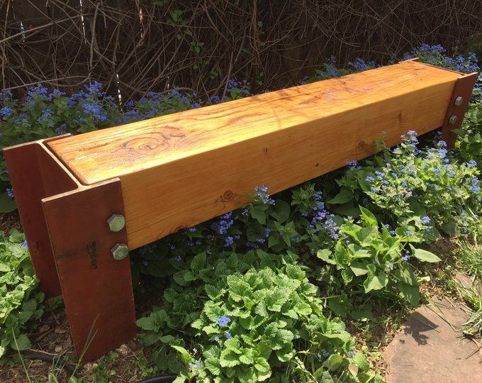 Reclaimed Beam And Steel Bench Free Shipping Etsy In 2020 Reclaimed Beams Steel Bench Barn Beams