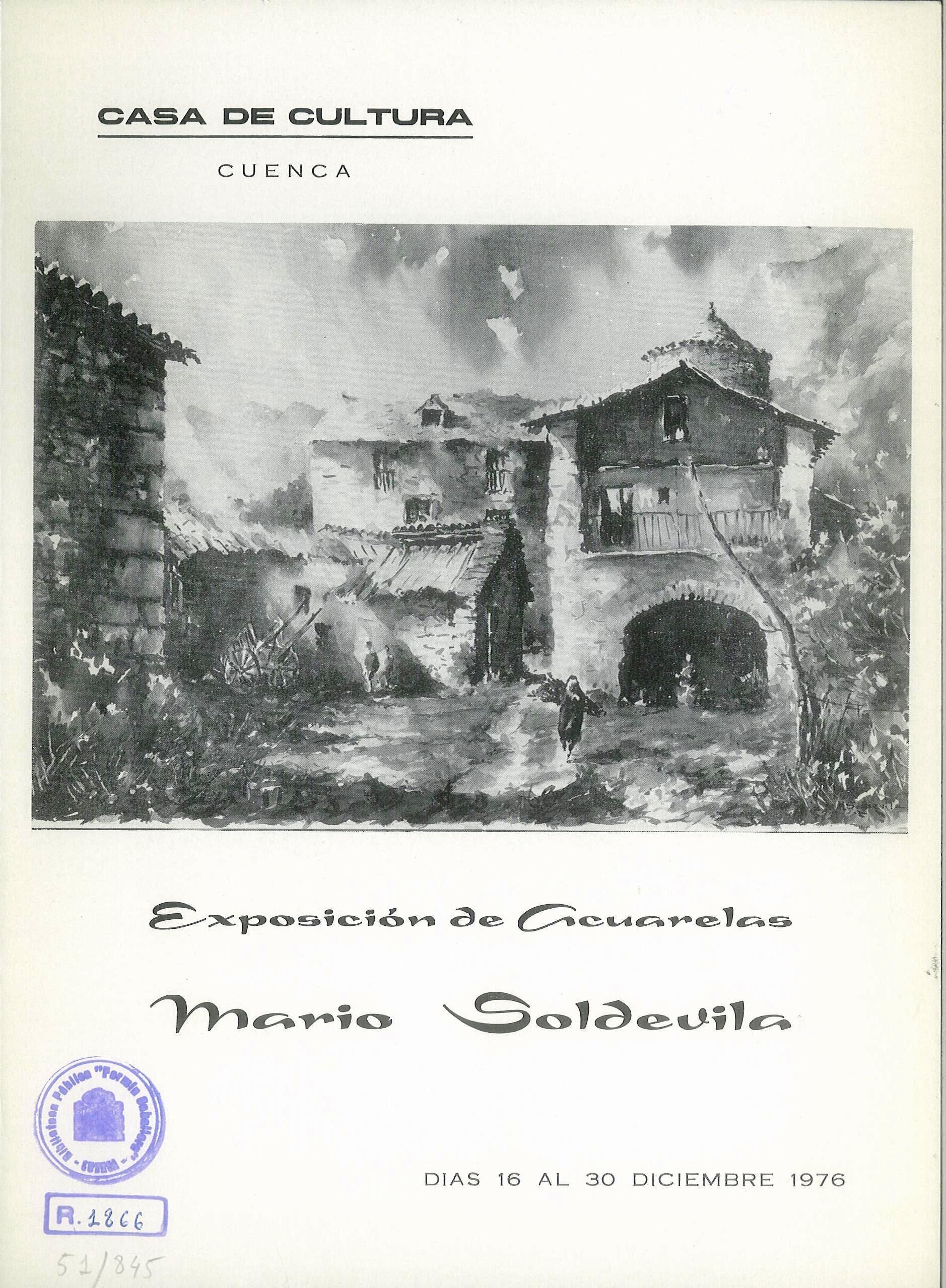 Exposición de acuarelas de Mario Soldevila en la Casa de Cultura de Cuenca Diciembre 1976