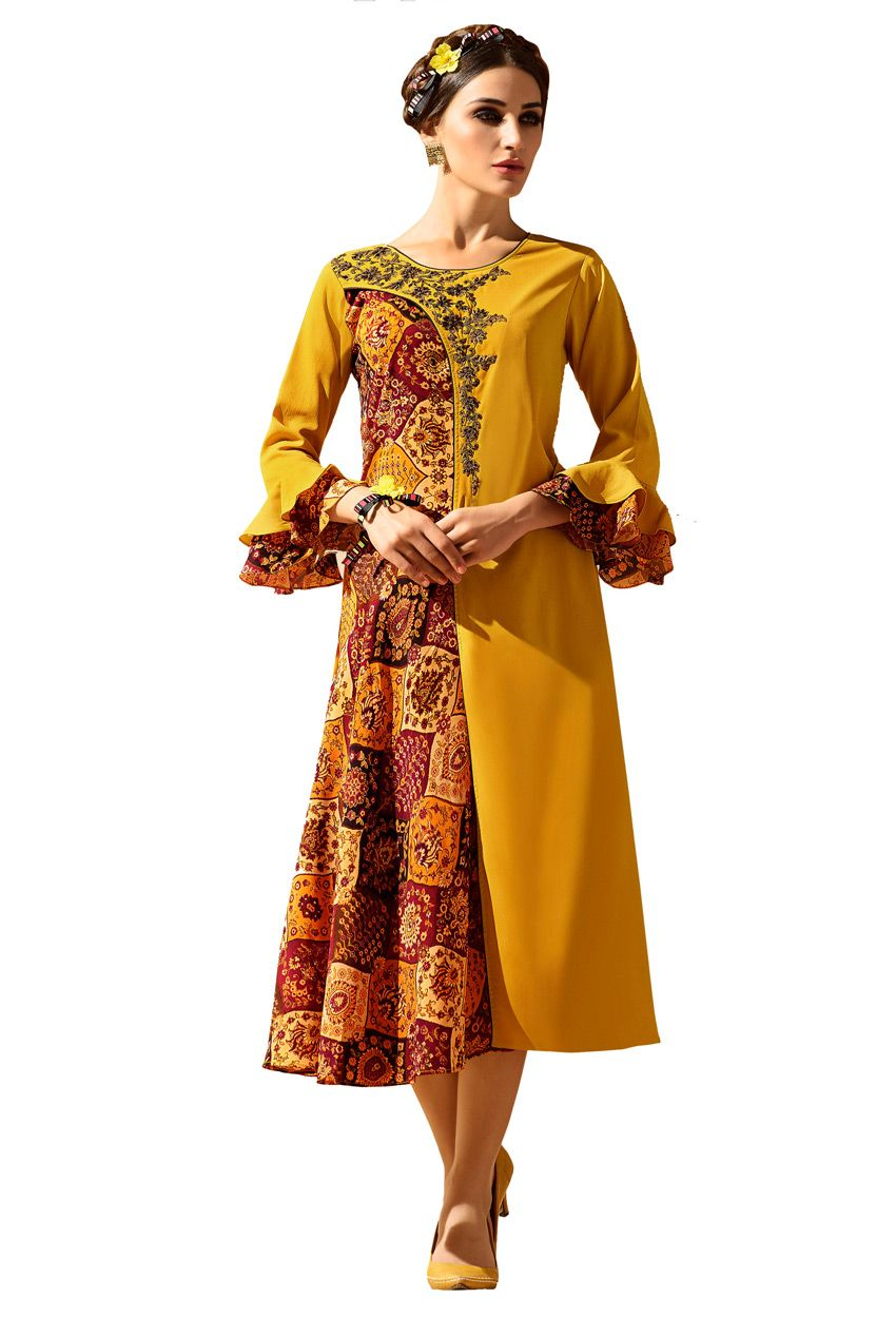 2cda4cbfef #Readymade #Mustard #Faux Georgette #Printed #Kurti #nikvik #usa #designer # australia #canada #freeshipping #fashion #dress #tunic #sale