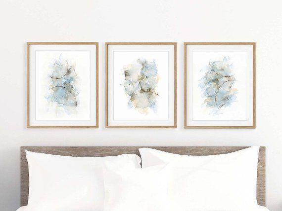 Bedroom Wall Decor Over The Bed Set Of 3 Prints Abstract Etsy Art Above Bed Bedroom Art Above Bed Wall Decor Bedroom