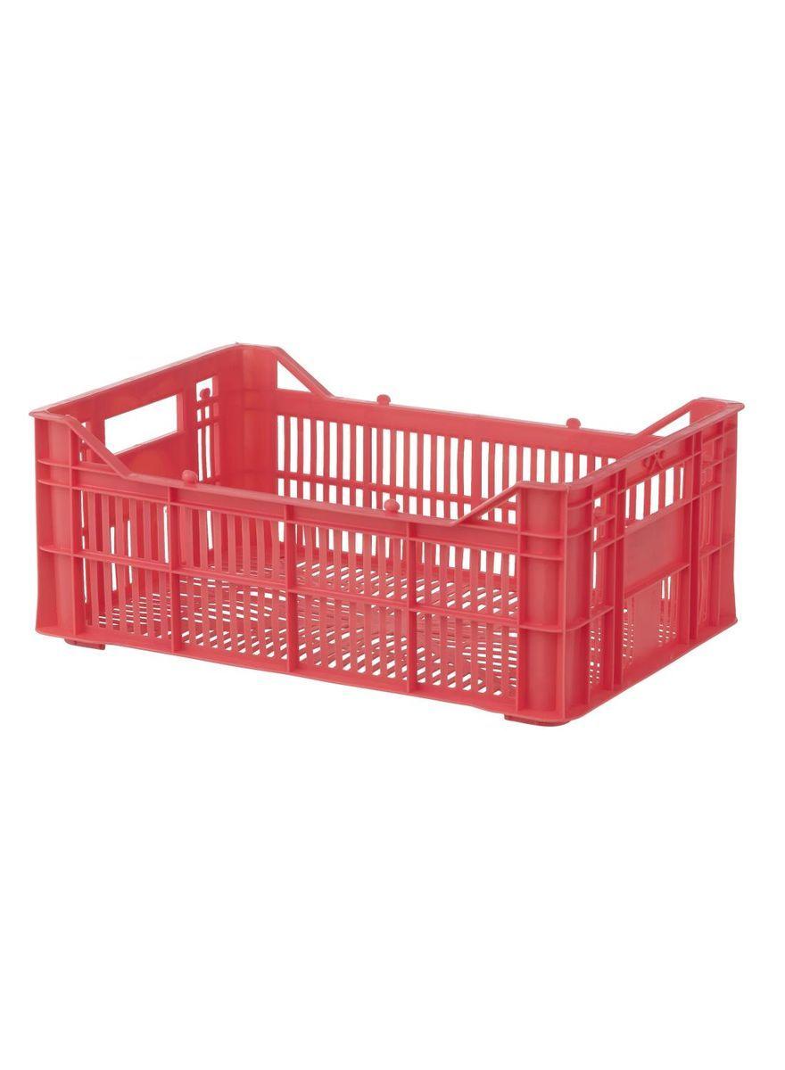 Cageot 30 X 20 X 11 Cm Couleur Corail Couleur Corail Rangement Plastique Et Panier En Feutre