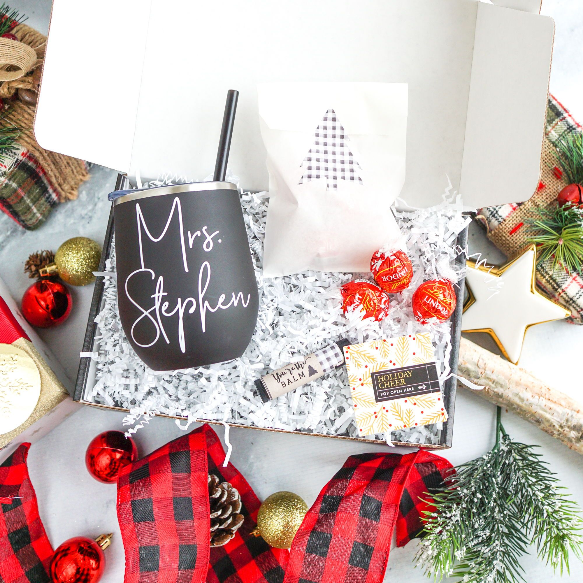 Holiday Gift Box With Stemless Wine Tumbler In 2020 Holiday Personalized Gifts Teacher Christmas Gifts Holiday Gift Box