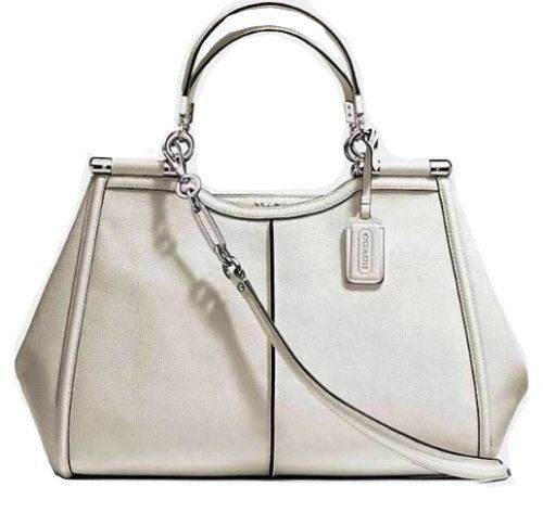 Women's Top-Handle Handbags - COACH Madison Textured Leather Caroline Satchel in Silver  Parchment 25245 ** Continue to the product at the image link.