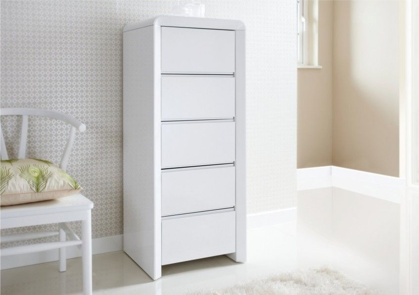 Ice High Gloss Tallboy - White - Chest of Drawers - Furniture | High ...