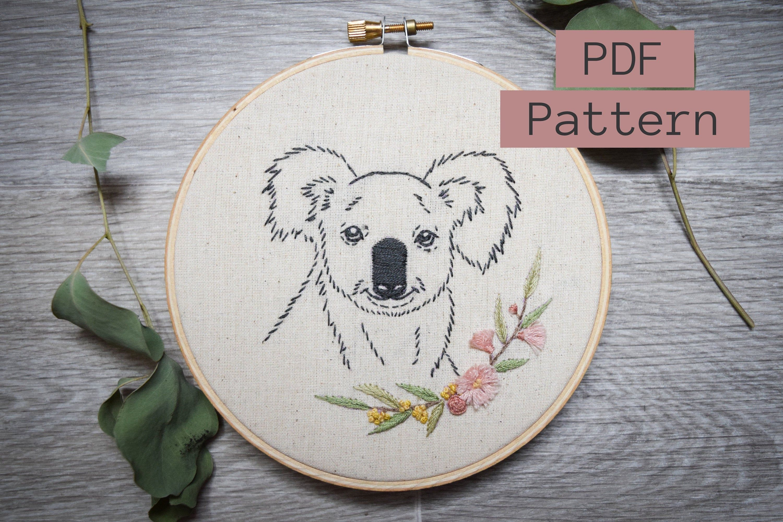 Embroidery PDF Pattern, Koala Blossom, Australia Embroidery, Gum ...