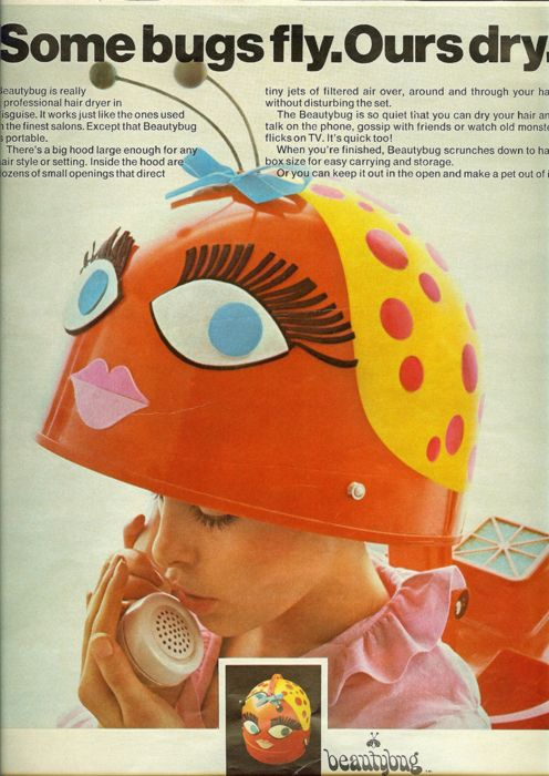 Oh hair drying would have been so much fun if only I had one...lol Beautybug hair dryer, 1960's