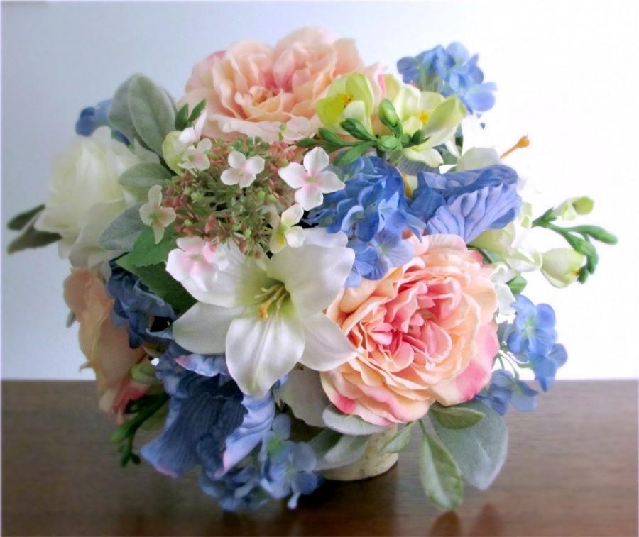 Silk Bridal Bouquet, Blush Pink, Light Blue, Green, And