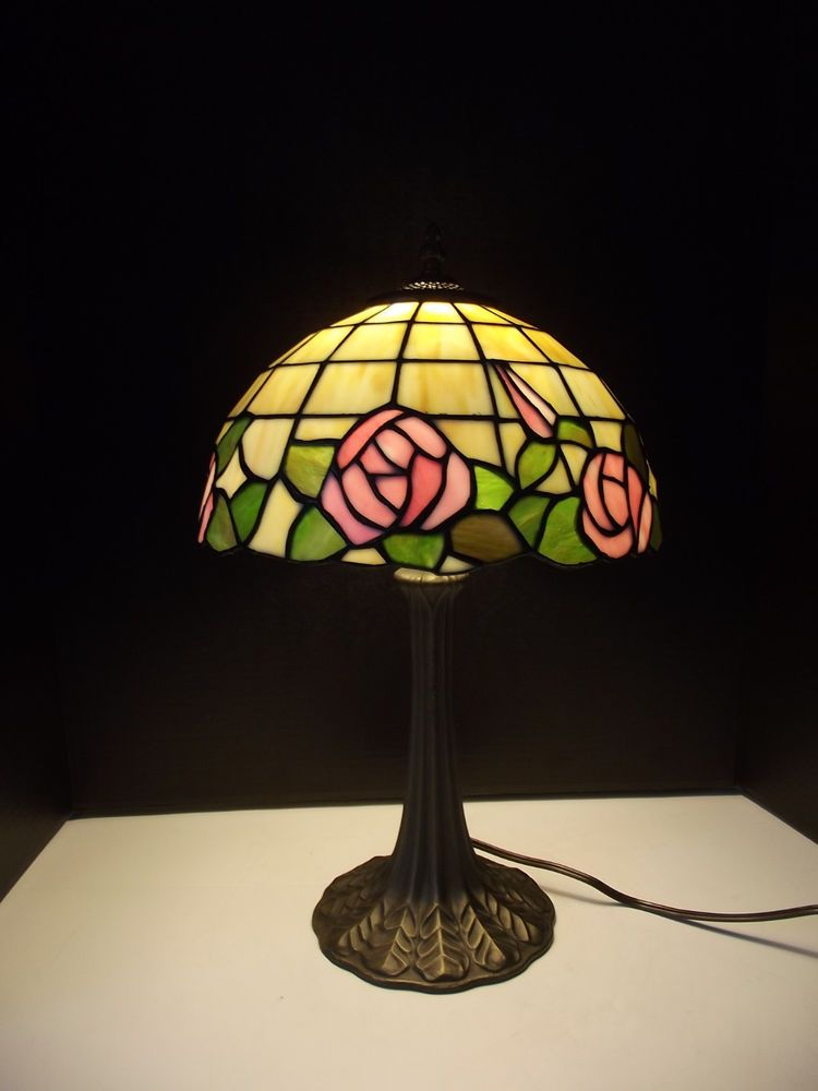 Tiffany style stained glass look plastic shade with roses electric tiffany style stained glass with pink rose design electric table lamp mozeypictures Image collections