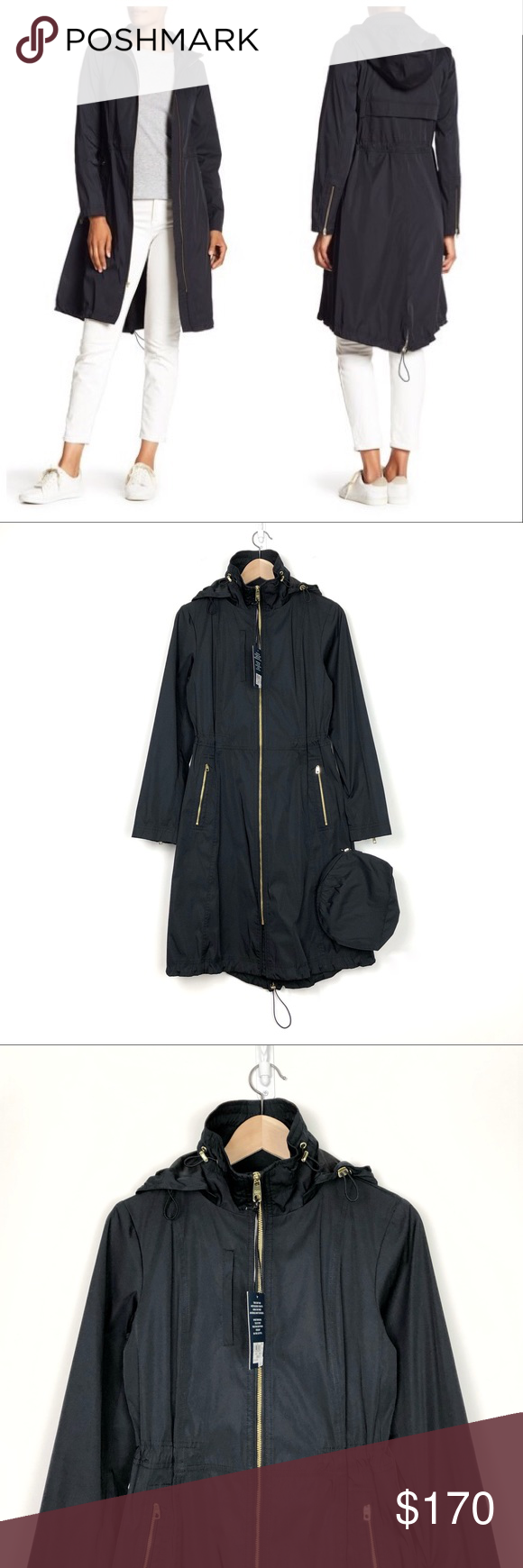 Cole haan single breasted metallic raincoat