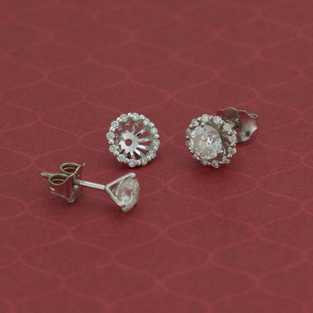 Give Your Solitaire Earrings A Whole New Look With These Sparkling Diamond Halo Earring Jackets Shaneco Shanecochic