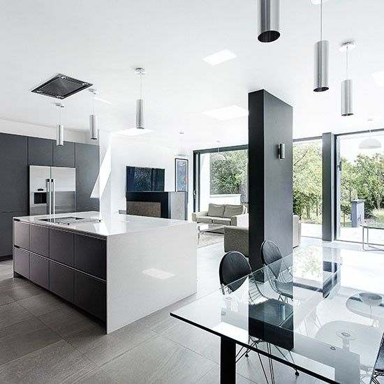 White Kitchen Designs On Open Plan