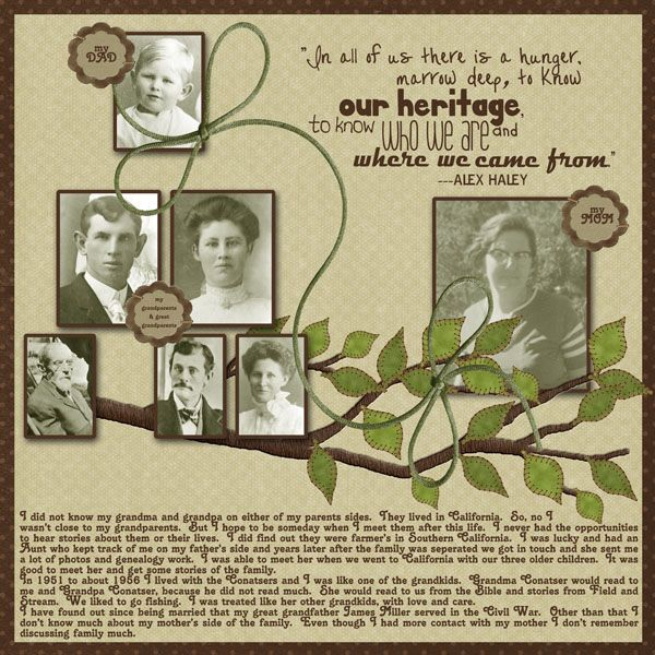 our heritagesimple family tree page with a nice heritage quote by alex