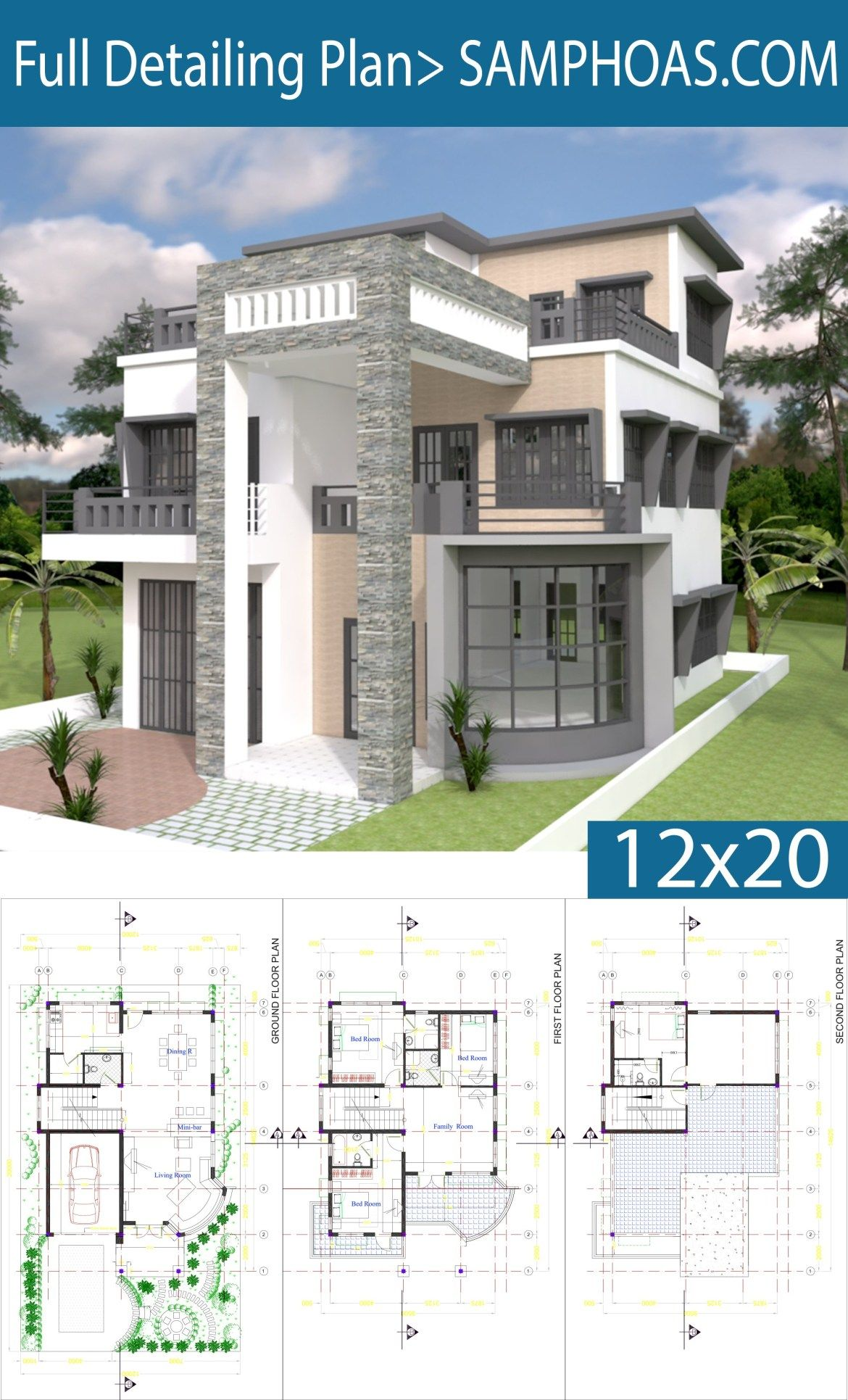 Modern House Plan 9x14 5m With 4 Bedrooms Samphoas Plansearch Modern House Floor Plans Modern House Plans Modern House Plan