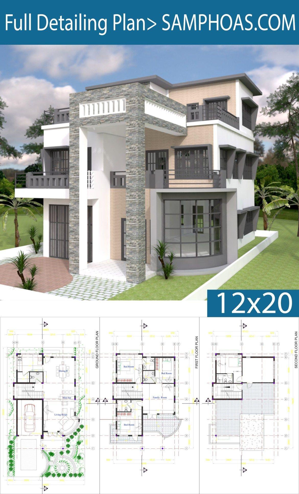 Modern House Plan 9x14 5m With 4 Bedrooms Samphoas Plansearch Modern House Floor Plans Modern House Plans Modern House Plan