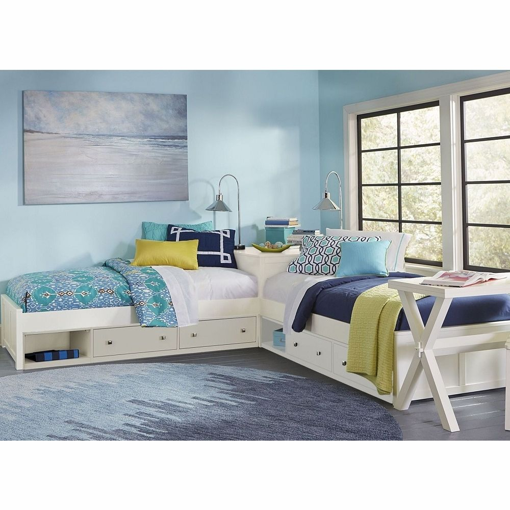 Hillsdale Kids Pulse L Shaped Bed With Double Storage White 33051n2s Bed Design Sister Room Blue Rooms