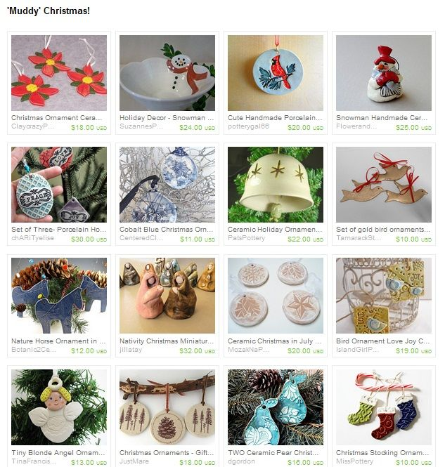 my christmas ornaments were featured in this beautiful ceramic Etsy treasury by BlueButterflyCrafts.. 20.11.2013.