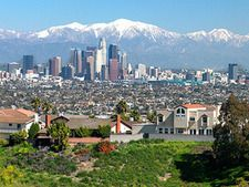 The view of DTLA and the mountains from Kenneth Hahn State Recreation Area.