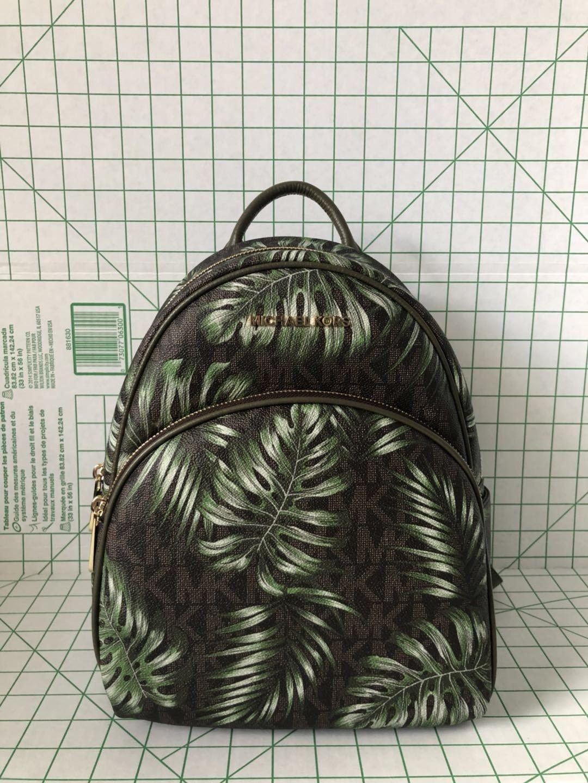 eb4616477c25 104.00 USD ❤ NWT Michael Kors Abbey Medium Backpack Brown Signature Olive  Palm Tree Leaf ❤