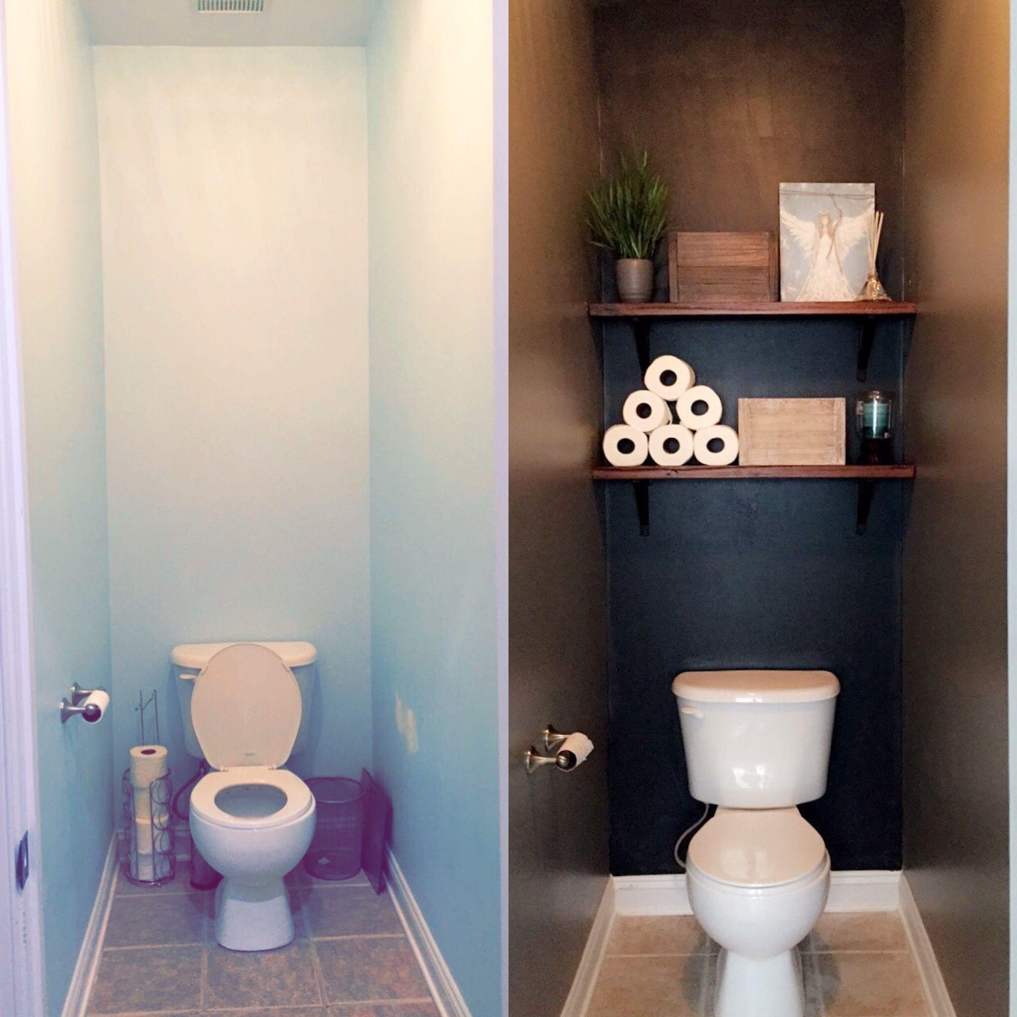 Bathroom Makeover Toilet Room Dark Colors Floating Shelves Baskets Clutter Free Black Wall In 2020 Small Toilet Room Toilet Room Decor Toilet Room