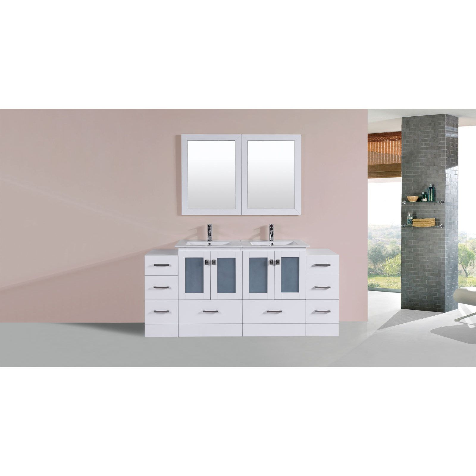 Pacific Collection 72-inch Hermosa Double Modern Vanity with 2 Side Cabs and Int Sinks