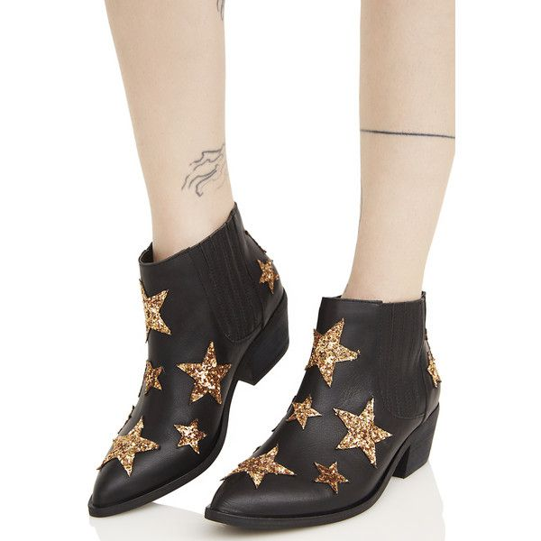 Chinese Laundry Black Leather Star Ankle Boots ($150) ❤ liked on Polyvore featuring shoes, boots, ankle booties, short leather boots, leather booties, black leather bootie, black booties and black ankle boots