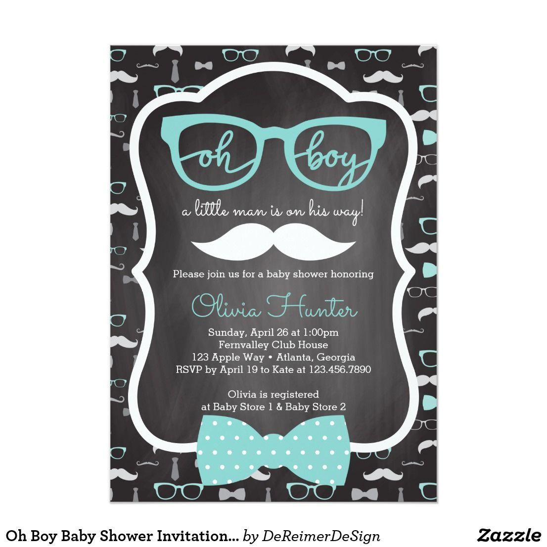 Oh boy baby shower invitation blue gray card baby shower oh boy baby shower invitation blue gray card filmwisefo