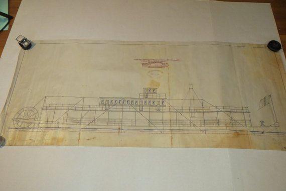 Ship blueprint 1896 antique vellum technical drawing light draught ship blueprint 1896 antique vellum technical drawing light draught stern wheel steamer paddlewheel malvernweather Choice Image