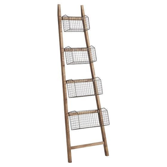 Wall Leaning Rack With Baskets Wall Shelf With Baskets Rustic Frames Ladder Decor