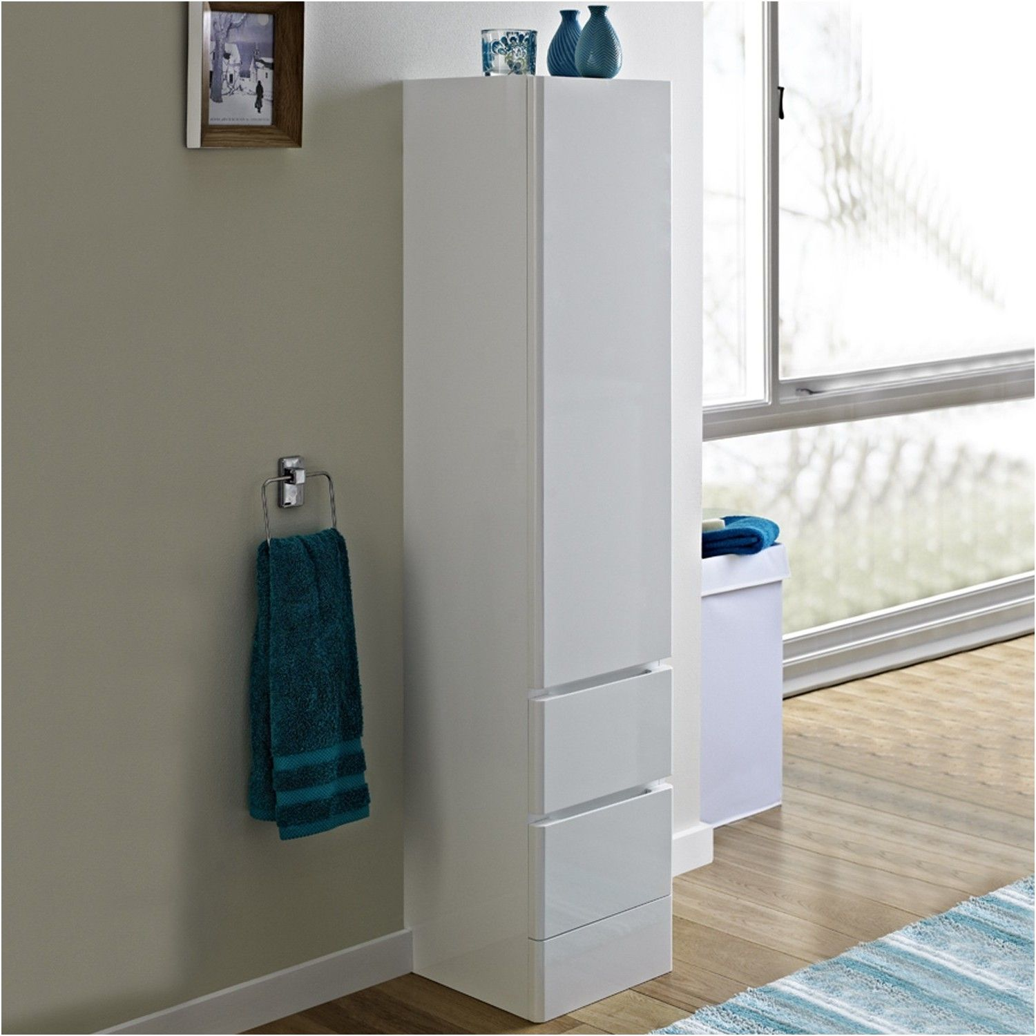 Tall Slim White Gloss Bathroom Cabinet Maine Slim Freestanding From Narrow White Bathroom Cabinet