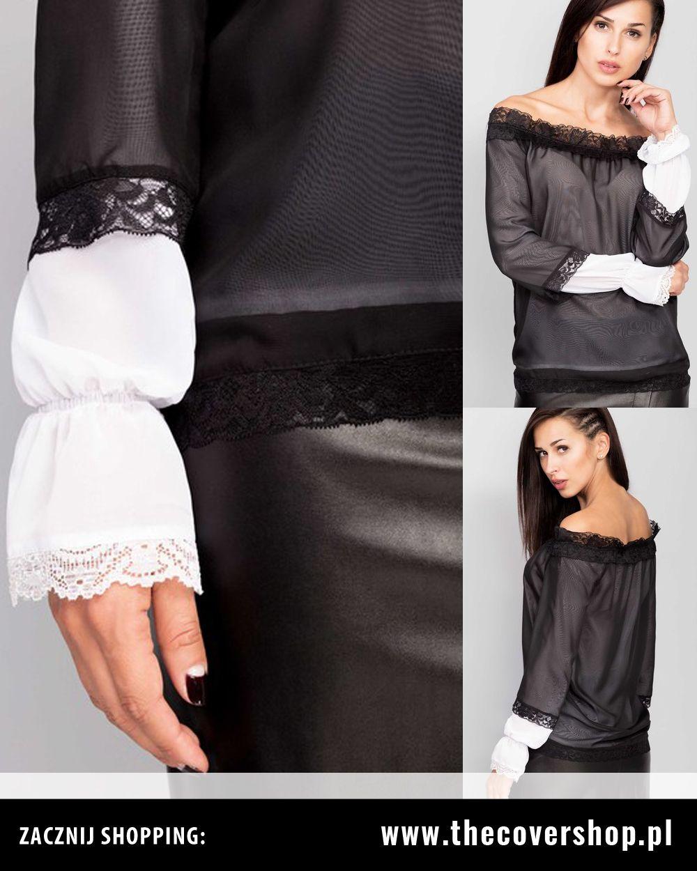 b0d66ed2afb0f8 Bluzka szyfonowa czarno-biały | Koszule | Odzież, Moda damska